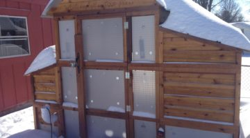 An Optional set of Storm Panels is available for the Round-Top Walk-In Coop to keep out bad weather of all kinds.