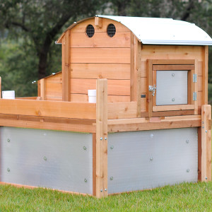 Urban Coop Company Round-Top Backyard Chicken Coop also offers an optional set of magnetically attached Storm Panels that will keep snow and sideways driven rain out of your coop